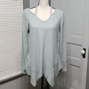 Maurices Waffle Knit SharkBite Cut Out Tunic